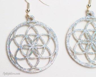 Seed of Life Earrings - Flower of Life Earrings - Holographic Glitter Earrings - Laser Cut