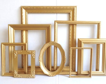 gold picture frames set baby nursery frames romantic wedding soft metallic gold vintage collection shabby chic gallery wall