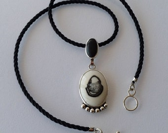 Black and White Agate and Labradorite Sterling Silver and woven black silk necklace