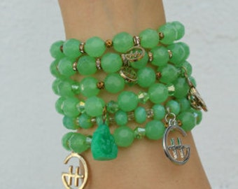 Buddha Green Bracelet Stack