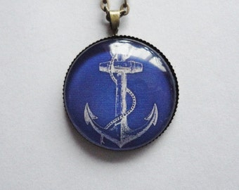 Necklace Anchor blue