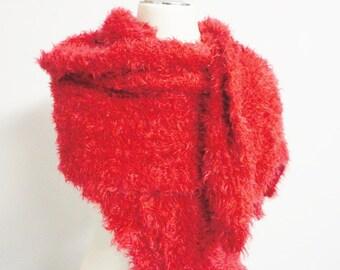 Scarf red handmade handknitted XL Winter Autumn