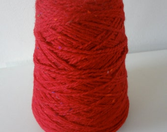 Vintage Cone of Red Wool with Multi-Colored Flecks