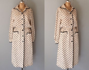 black polka dot silk dress | vintage silk button front coat dress
