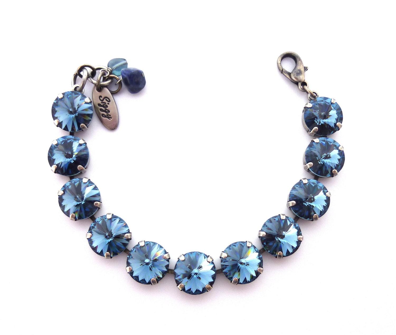 swarovski crystal tennis bracelet in 12mm denim blue navy. Black Bedroom Furniture Sets. Home Design Ideas