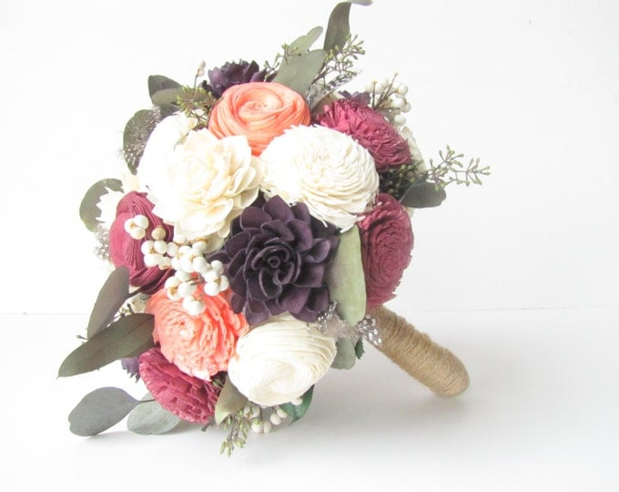 Fall Bridal Bouquet - Summer Bridal Bouquet - Eggplant Flowers- Aubergine- Sola Flower Bouquet- keepsake bridal bouquet, alternative bouquet