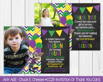 Any Age - Chuck E. Cheese Birthday Invitation OR Thank you card Digital Invite File