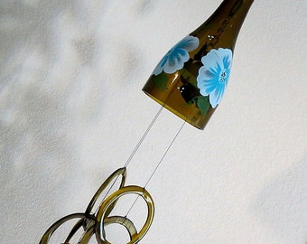 Wine bottle windchime, Amber wind chime, Blue flowers, yard art, patio decor, recycled bottle wind chime, hand painted chime