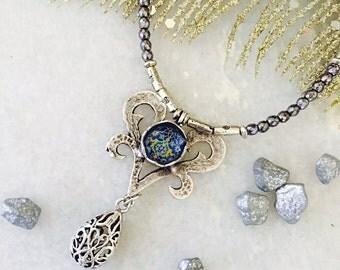 Delicate Hematite Necklace/ Ornate Pendant/ Filigree/ Modern Necklace/ Silver Pendant/Cool Necklace/ Persian Jewelry