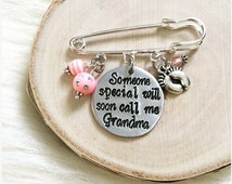Grandma to Be Pin - Pink or Blue Beads - Baby Shower, Mother Mom to Be Gift, Grandmother Nana to be, Gender or Baby Name Reveal Party