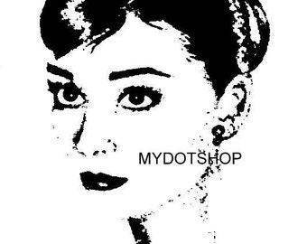 Scroll Saw Pattern Instant Download of  Digitally Altered  Original Audrey Hepburn Drawing