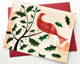 Holiday Card featuring a Red Bird, Blank on the inside.