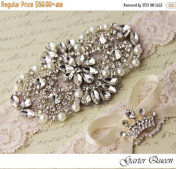 Personalized Wedding Garter Sets: 15% OFF Wedding Garter Set Ivory Bridal Garter Set By
