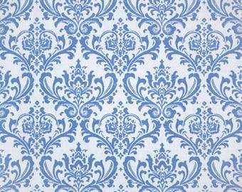 Madison Placid Blue Premier Prints Fabric - One Yard - Blue and White Damask Home Decor Fabric
