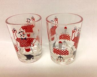 "Vintage Hazel-Atlas Black/Red ""Gay Nineties""  Shot/Jigger Glasses (2), 1950s Collectible Barware/Replacements/USA Made"