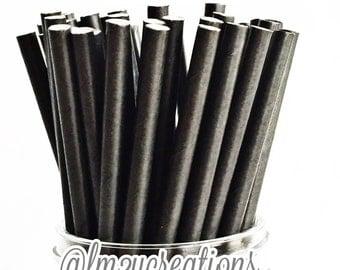 Solid Black Paper Straws, 25 Black Paper Straws