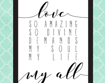 Love So Amazing Calligraphy 8x10 Wall Print