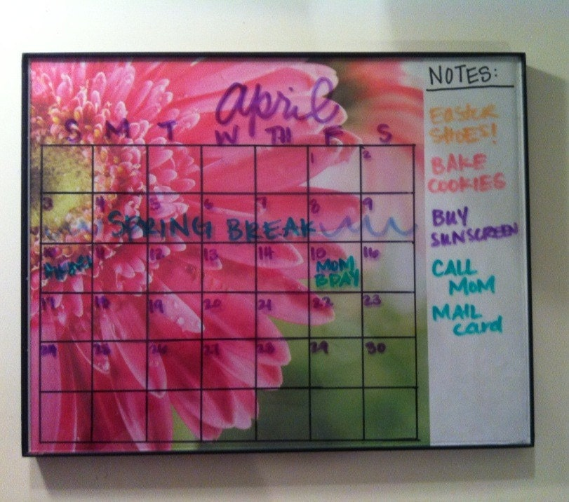 Reusable Monthly Calendar : Bouquet dry erase reusable monthly or weekly calendar with
