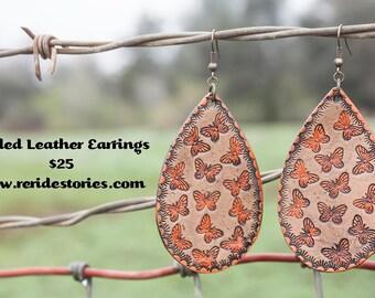 Tooled Leather Earrings- Butterflies