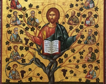 Jesus Christ - The Vine- Tree  - Orthodox Byzantine icon on wood (30cm x 22.2cm)