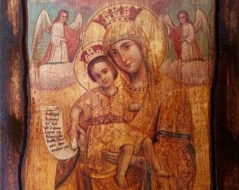 Virgin Mary - Axion Esti - Orthodox Byzantine icon on wood handmade (22.5 cm x 17 cm)