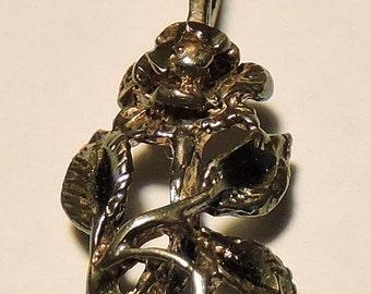 Vintage .925 Sterling Silver Rose Pendant Marked .925