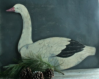 Vintage Waxed Cardboard Snow Goose Decoy, Mantle Display, Shabby Chic, Farmhouse Decor, Rustic, Primitive