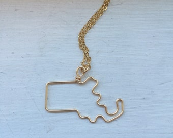 Massachusetts necklace, state outline, state necklace, bridesmaid gift, usa