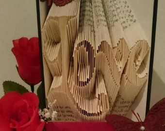 Love folded book. Ideal Valentines or Wedding gift.