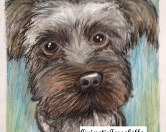 Black pup oil pastel drawing