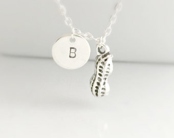 Peanut Necklace, Initial Peanut Necklace, Silver Peanut Necklace, My Little Peanut Necklace, Baby Shower Gift, Initial Necklace, UK Seller