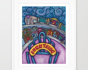 SUNNYSIDE QUEENS PRINT - Sunnyside Queens Poster Room Decor