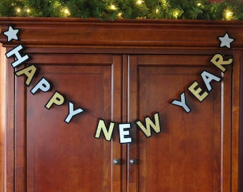 Felt and Satin Happy New Year Banner - Happy New Year Decoration - New Years Decoration -New Year Decoration- Happy New Year Garland