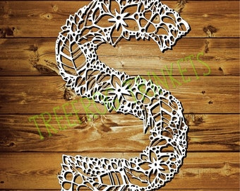 Papercut Template - Letter S for COMMERCIAL USE