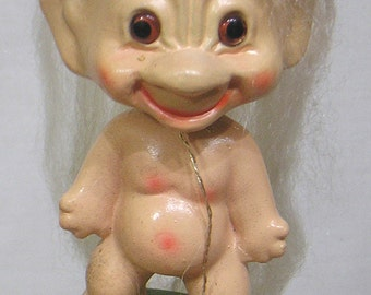 Vintage TROLL NODDER Lucky Shnook with Original Hang Tag Long White Hair Composition Material