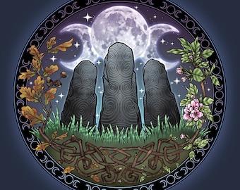 Celtic Awen Standing Stones  -  Pagan Wiccan Print - Brigid Ashwood