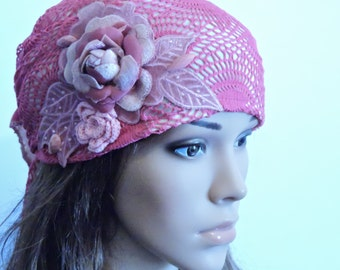 Pink Hair Snood , Head Scarf , Tichel , Chemo Hat , Head Wrap , Hair Covering , Chemo Headwear , Pre-Tied Bandana , Mitpachat