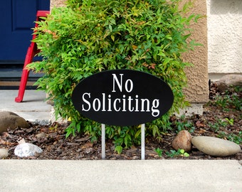 No Soliciting Garden Sign Engraved Wood Plaque Large