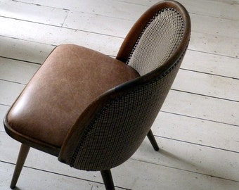 Vintage 1950s Tweed and Leather Desk Chair