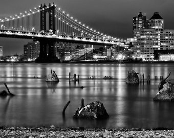 Manhattan Bridge Photography, New York Night, NYC Print, Black and White Photograph, Brooklyn, New York, NYC Fine Art, NYC Night 8x12 photo
