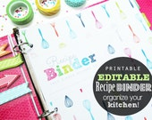 25% OFF Recipe Binder, Editable Printable Planner - INSTANT Download - Recipe Book, Great Gift, Divider Tabs, Whisk pattern colorful