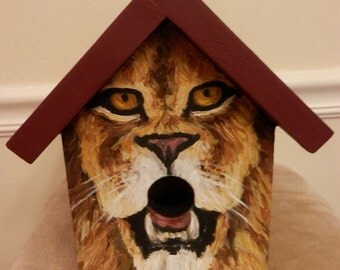 Bird House Hand Painted Wood Outdoor Custom Made for the Cat Lover
