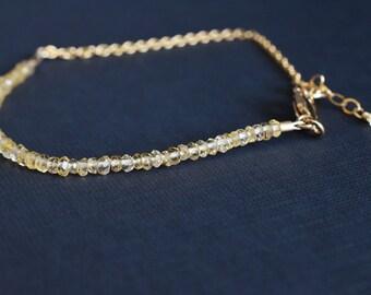 Citrine bracelet/ Natural gemstone bracelet/ Minimalist jewelry/ 14k gold filled/ November birthstone/ Luxury tiny beads