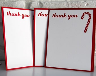 Candy Cane Christmas Thank You Set of Ten, Holiday Note Card Set, Christmas Stationery, Holiday Stationery, Candy Cane Note Cards