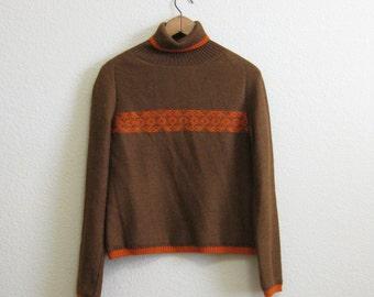 Soft Brown Alpaca Sweater Brown Orange Medium Turtleneck