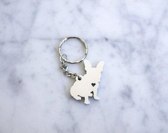 French Bulldog, Custom Keychain, Metal Keychain, Custom Metal Keychain, Keyring, Silver Keychain, Brass Keychain, Keychains