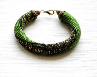 Olive Green bracelet, Beaded crochet bracelet, Bead Crochet Rope, seed beaded bracelet