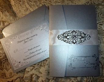 """Silver Wedding Invitation ( sample ) - """"  Victorian Silver """""""