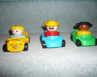 Vintage Fisher Price Chunky Little People And Cars  Lot C