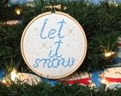 Let it Snow Holiday Hoop Art